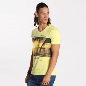 Bossini Printed V-neck T-Shirt with Short Sleeves