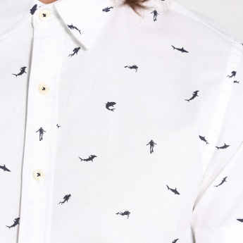 Bossini Printed Short Sleeves Shirt with Complete Placket