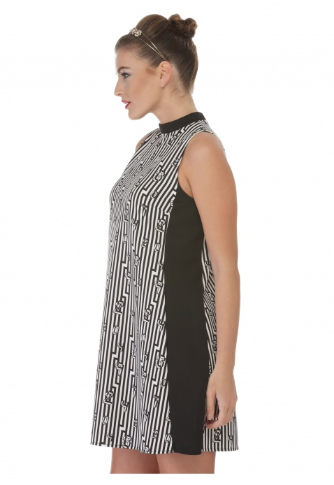 High Neck Printed A-Line Dress