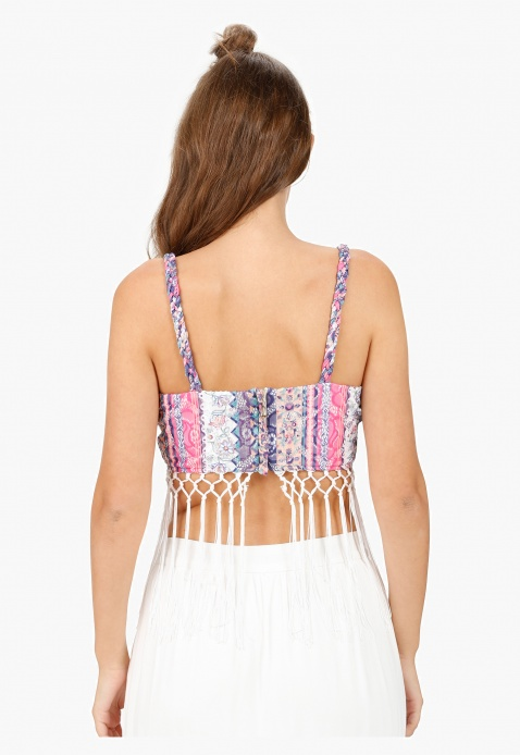 Printed Bra Top with Lace Embellishment