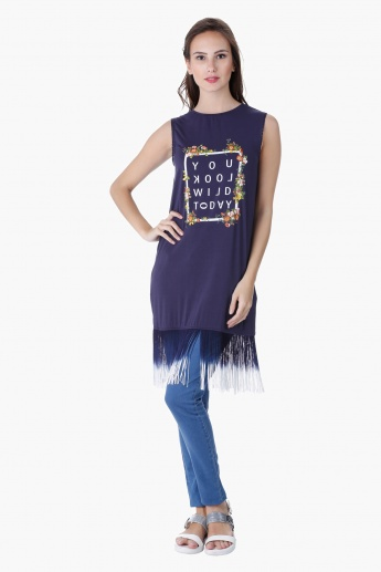 Printed Top with Fringe Embellishment