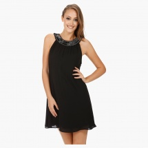 Halter Dress with Beaded Crew Neckline