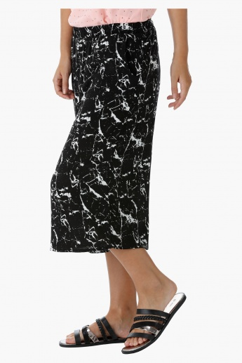Printed Culottes with Elastic Waistband