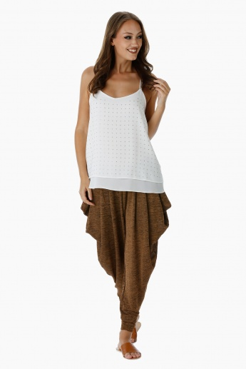 Textured Drape Slouch Pants