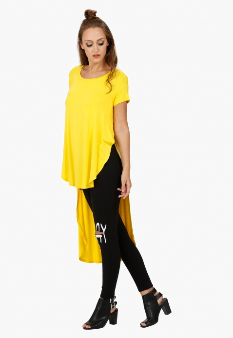 High Low Top with Round Neck and Short Sleeves