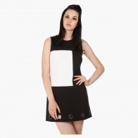 Sleeveless Shift Dress with Eyelet Detail in Regular Fit