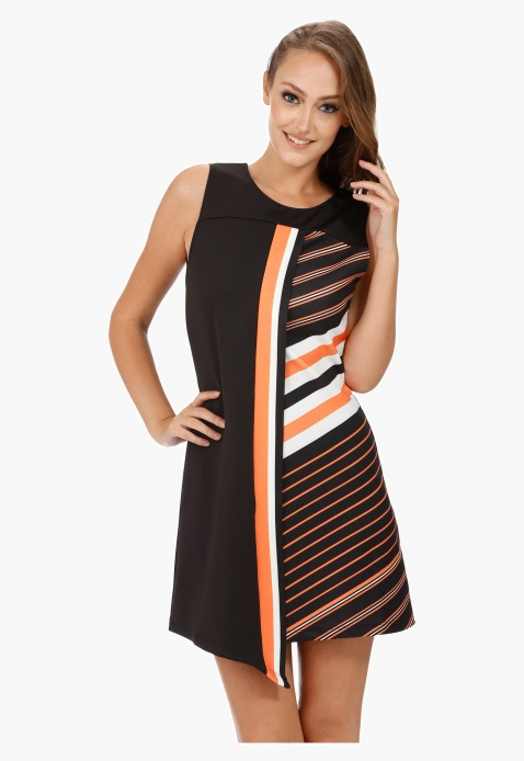 Sleeveless Shift Dress with Boat Neck and Asymmetric Silhouette