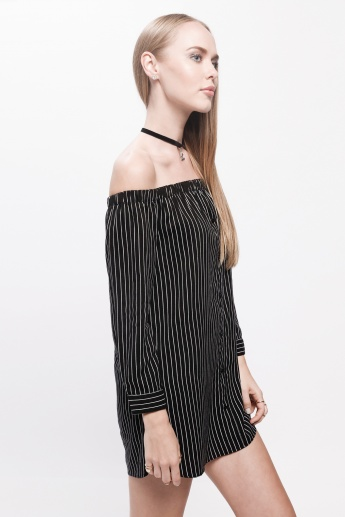 Striped Dress with Off Shoulder Pattern and Long Sleeves