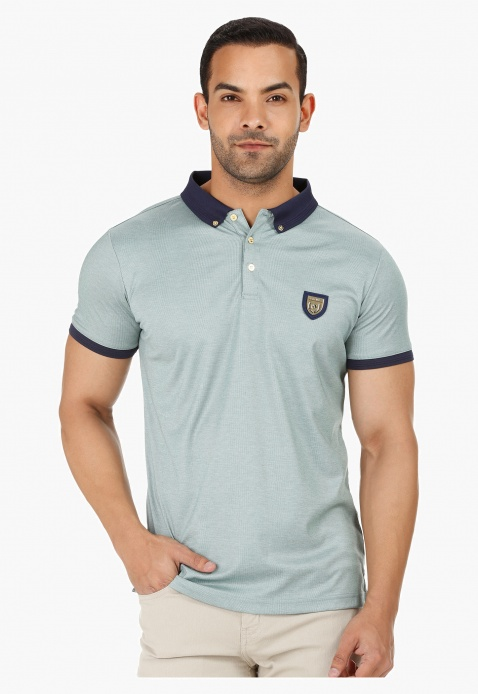 L'HOMME Polo Neck T-shirt with Short Sleeves