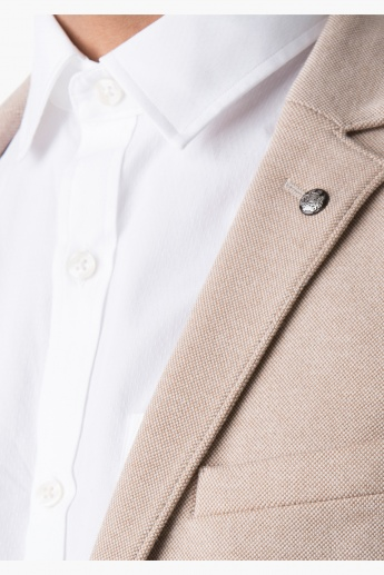 L'Homme Cotton Blazer with Notch Lapel and Long Sleeves in Regular Fit