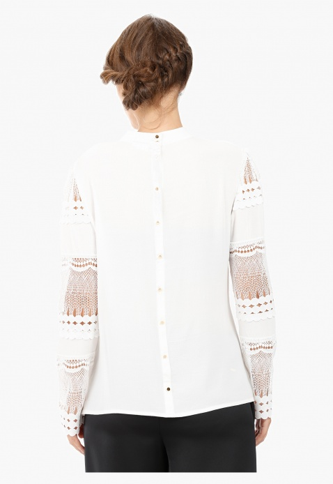 Elle Blouse with Long Sleeves and Lace Panelled Front