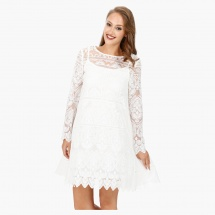 Elle Embroidered Tunic Dress with Boat Neck and Long Sleeves