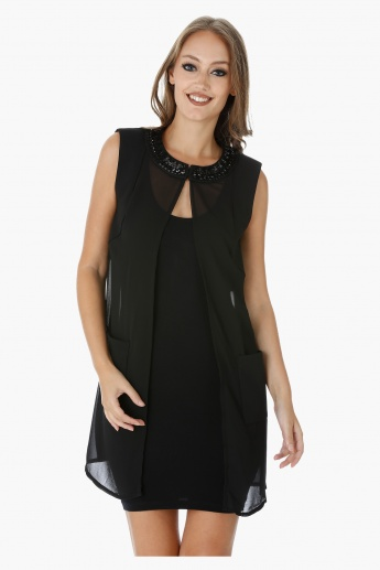 Elle Sleeveless Top with Embellished Round Neck