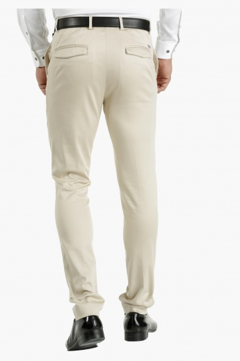 L'HOMME Wrinkle Free Cotton Trousers in Slim Fit