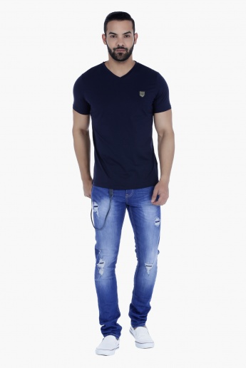 L'HOMME Badge T-Shirt with V-Neck and Short Sleeves