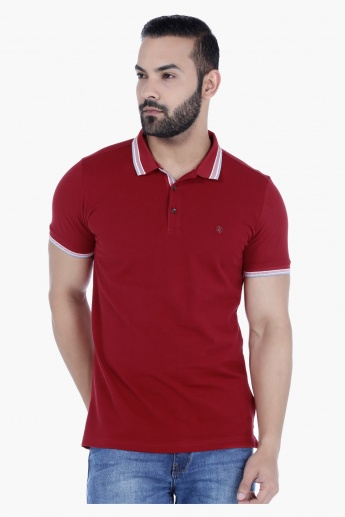 L'HOMME Cotton T-Shirt with Polo Neck and Short Sleeves