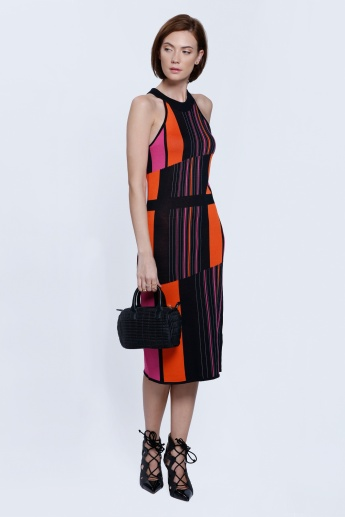 Stripe Body Con Halter Dress