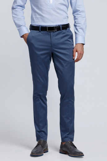 L'HOMME Full Length Pants with Button Closure