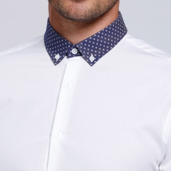 L'HOMME Long Sleeves Shirt with Printed Spread Collar