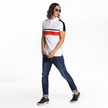 L'Homme Printed T-Shirt with Polo Neck and Short Sleeves