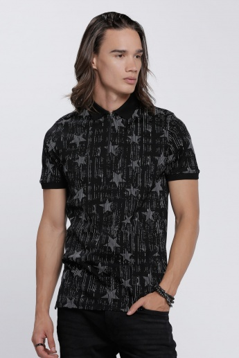 L'HOMME Printed Polo Neck T-Shirt with Short Sleeves