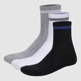 Crew Length Socks with Ribbed Cuffs - Set of 3