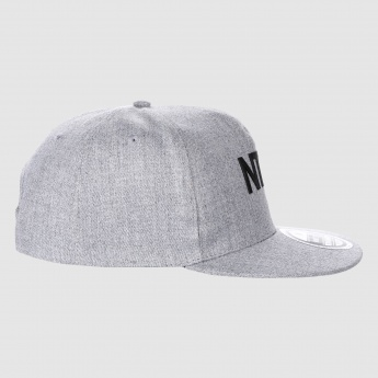 Textured Text Print Cap with Snap Closure