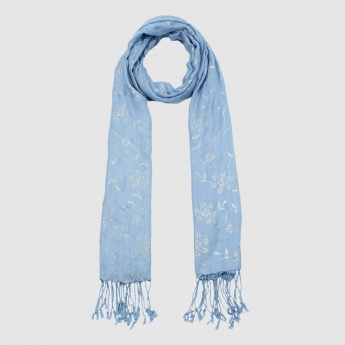 Printed Scarf with Tassels on the Hem