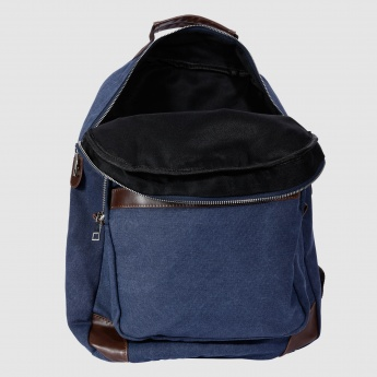 Textured Backpack with Zip Closures