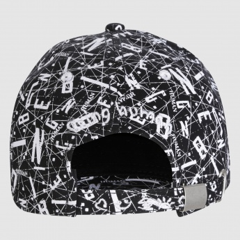 Being Human Printed Cap with Metallic Buckle Closure