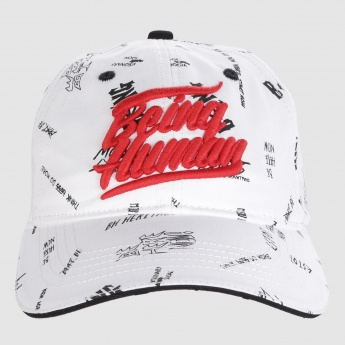 Being Human Printed Cap with Embroidery and Metallic Buckle Closure