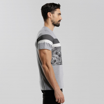 Iconic Printed Round Neck T-Shirt with Short Sleeves