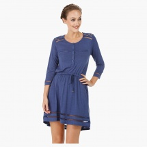 Three Quarter Skater Dress with Lace Inserts