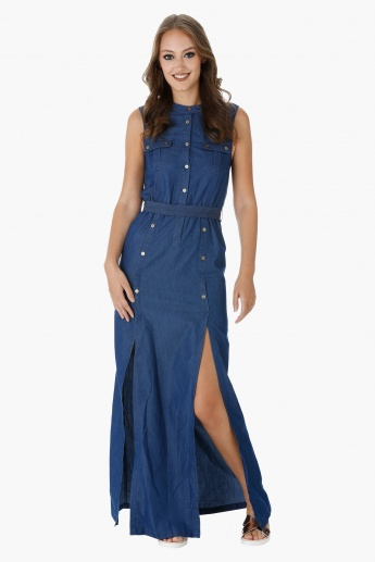 Lee Cooper Sleeveless Maxi Denim Dress with Double Slits