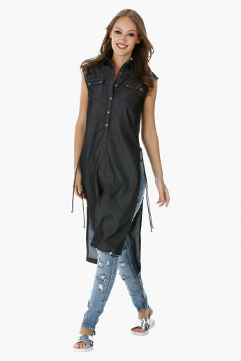 Lee Cooper Sleeveless Denim Tunic with Side Slits and Tie-Ups