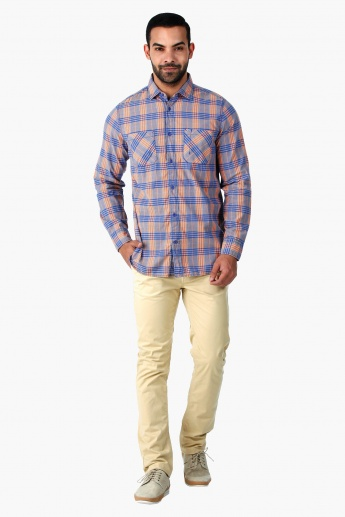 Lee Cooper Yarn-Dyed Cotton Shirt with Long Sleeves in Regular Fit