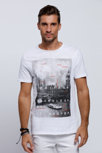 Lee Cooper Printed Short Sleeves T-Shirt with Crew Neckline