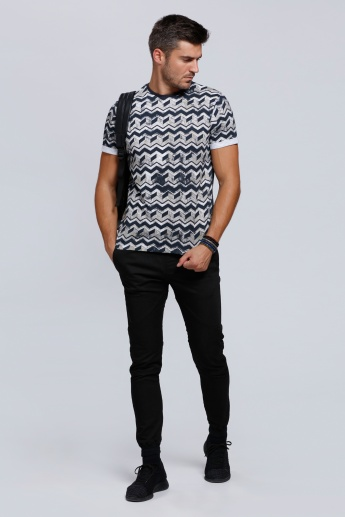 Lee Cooper Printed Round Neck T-Shirt with Short Sleeves