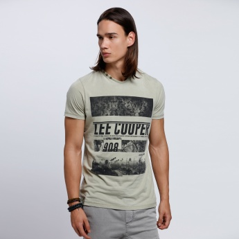 Lee Cooper Printed T-Shirt with Short Sleeves
