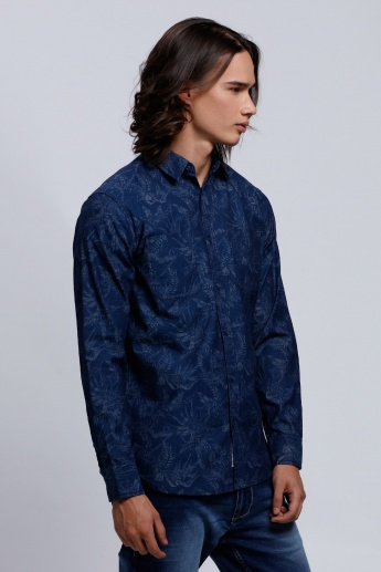 Lee Cooper Printed Long Sleeves Shirt with Spread Collar