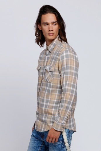 Lee Cooper Chequered Shirt with Long Sleeves and Flap Pockets