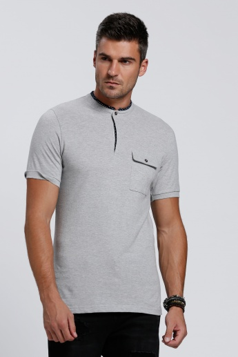 Lee Cooper Henley Neck T-Shirt with Short Sleeves