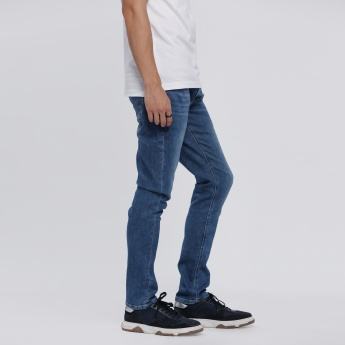 Full Length Faded Jeans with Button Closure
