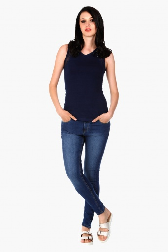 Medium Wash Basic Jeans in Skinny Fit