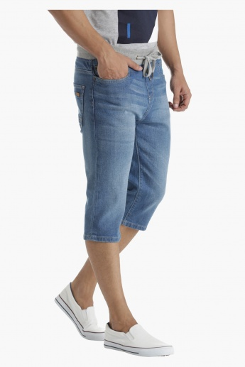 Denim Shorts with Ribbed Waistband in Regular Fit