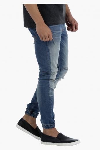 Denim Jog Pants with Drawstring