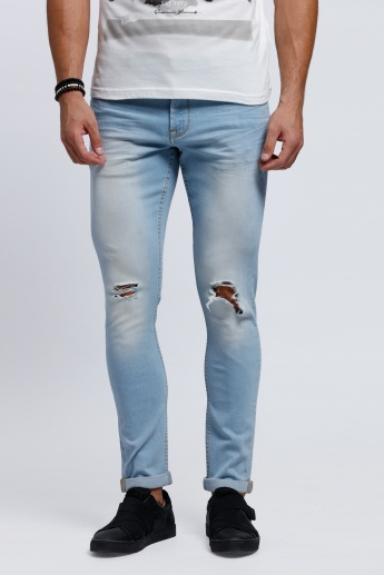 Full Length Stone Washed Jeans with Slim Fit