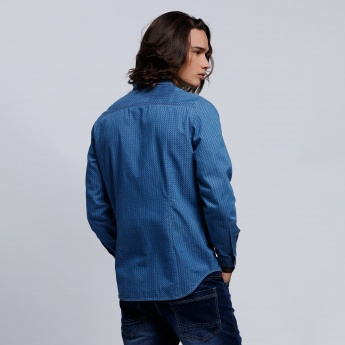 Eco friendly Printed Shirt with Patch Pocket and Long Sleeves