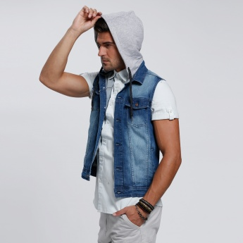 Faded Denim Jacket with Hood