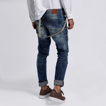 Distressed Jeans with Button Closure